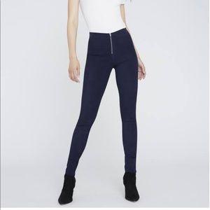 Alice + Olivia Zip Front Suede Blue Jeans